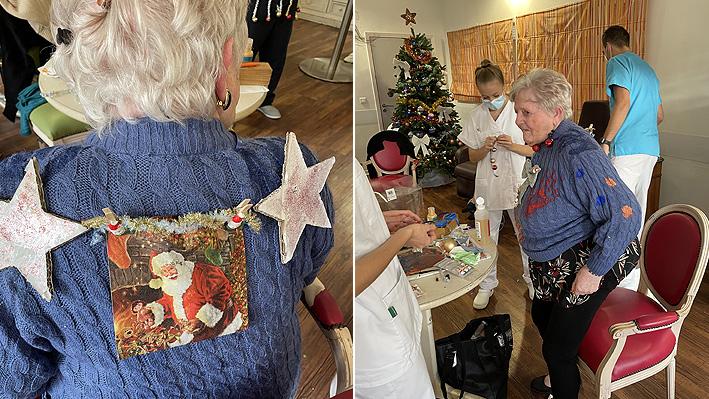 Création Pulls de Noël pour le concours par nos résidents de la Bastide de Pégomas.